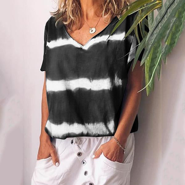 Women V Neck Short Sleeve Color Block Printed Casual Blouses