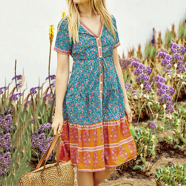 Bohemian Lace-Up Elegant Vacation Dresses
