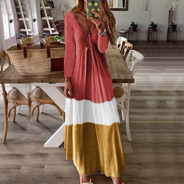 Women Casual  Striped V Neck Fall Maxi Dresses