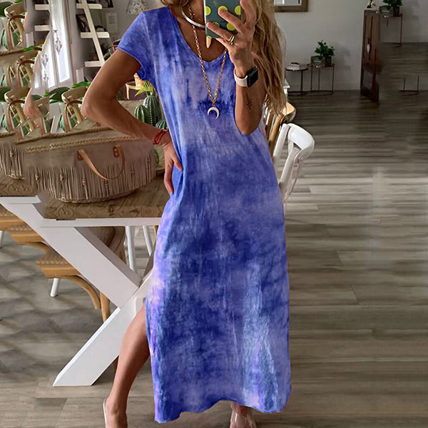 Printed V Neck Comfortable Maxi Dress