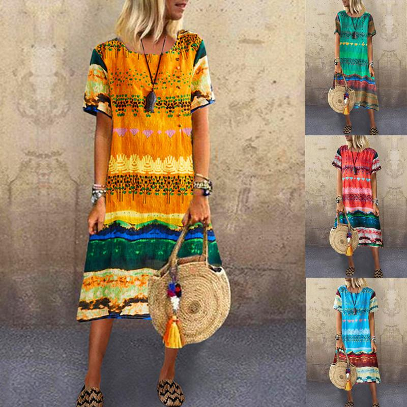 Women Summer Casual Floral Printed Short Sleeve Dresses