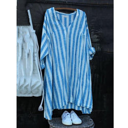 V Neck Stripes Casual Linen Dress