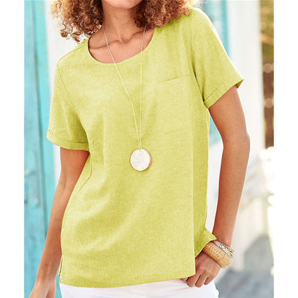 Summer Casual Round Neck Cotton Blouses