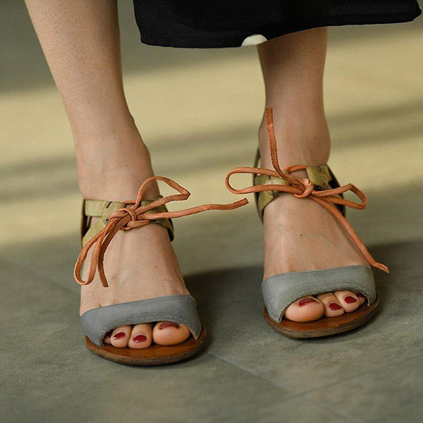 Mid-Heeled Colorblock Sandals