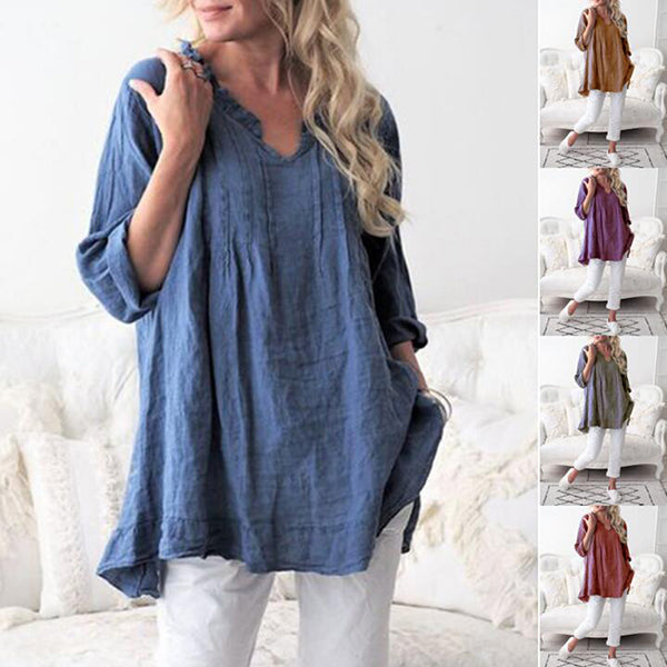 V Neck Casual Loose Blouse