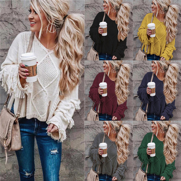 Women's V-neck Tassel Solid Color Sweaters