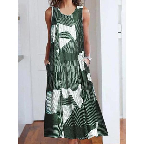 Patchwork Round Neck Sleeveless Color Block A-Line Dress