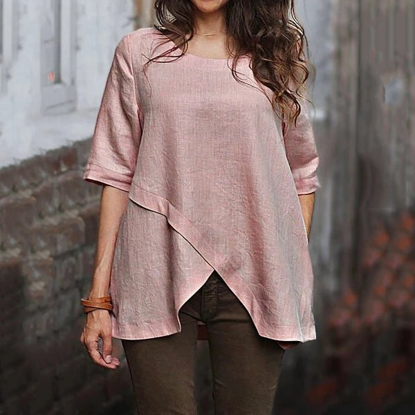 Women Solid Color Irregular Casual Blouses