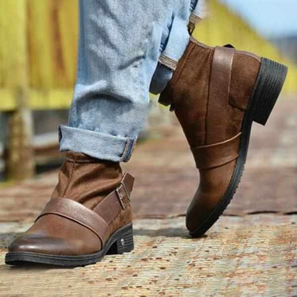Plain Round Toe Casual Outdoor Flat Boots