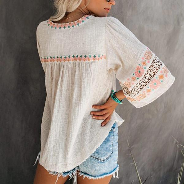 Casual V-Neck Printed Openwork Tops