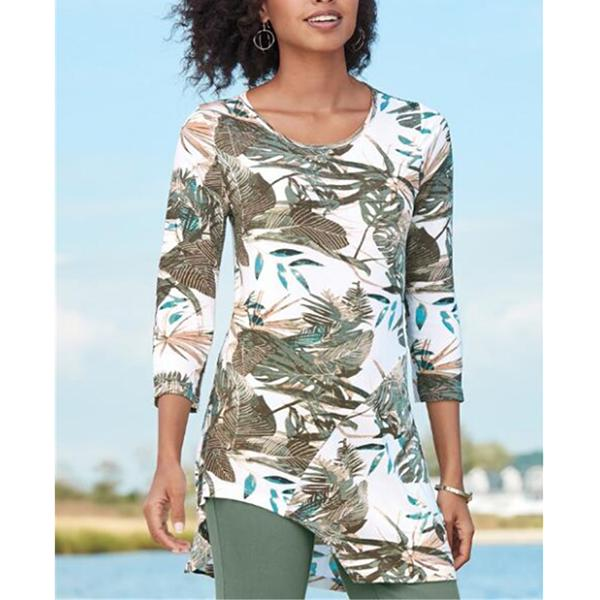 Fashion Printed Loose 3/4 Sleeve Blouses