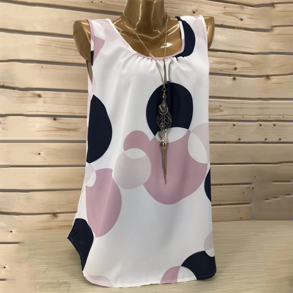 Plus Size Sleeveless Polka Dot Vest