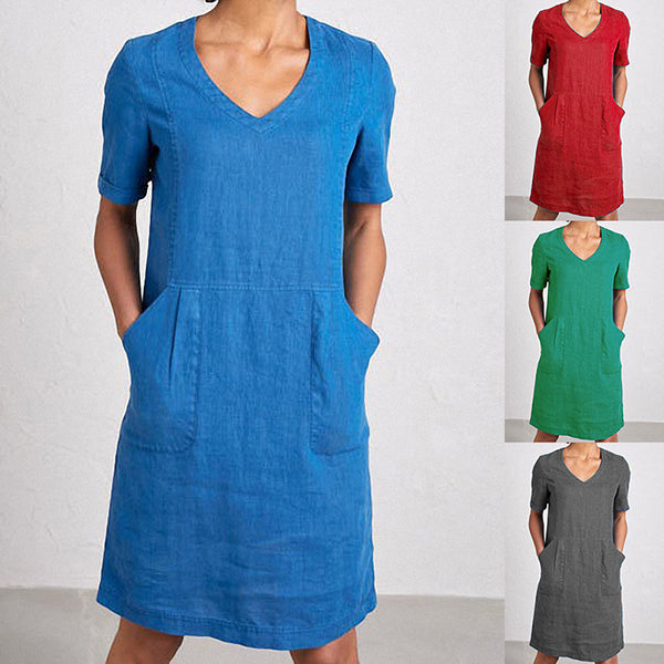 Solid Color V Neck Pocket Dress