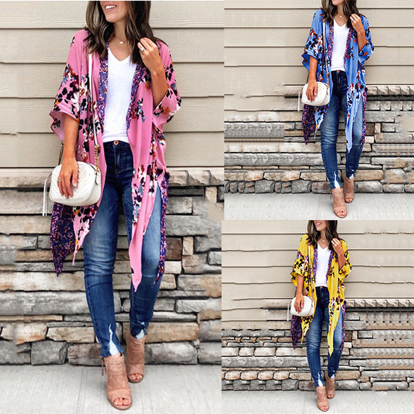 Vacation Irregular Flower Printed Cardigans