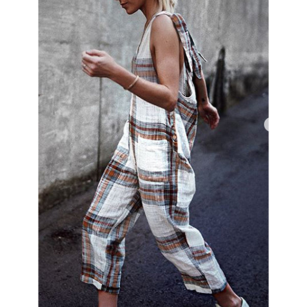 Casual Sleeveless Grid Printed Summer Jumpsuits