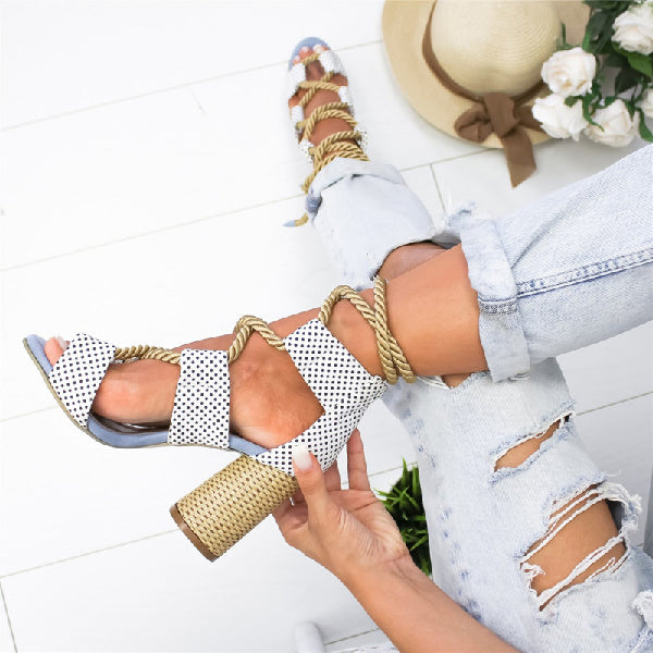 Colorblock Cross Strap High Heel Sandals