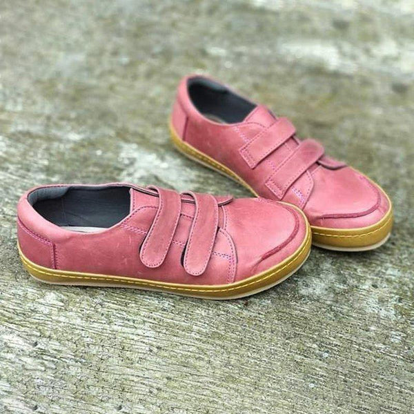 Solid Color Velcro Flat Shoes