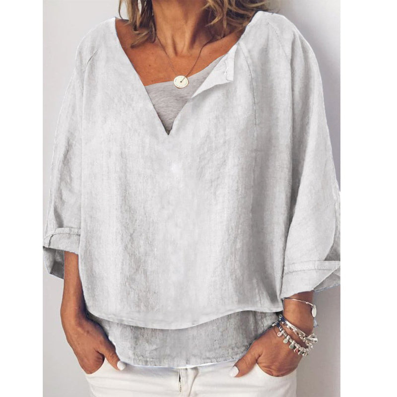 Casual V Neck Long Sleeve Blouses