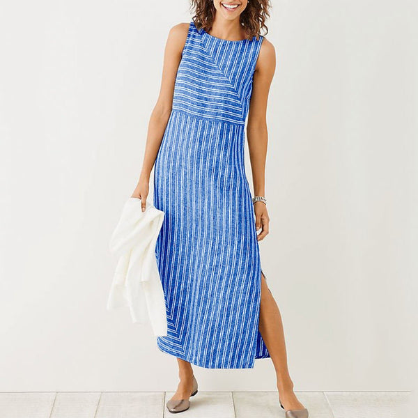 Plus Size Casual Striped Holiday Sleeveless Dress