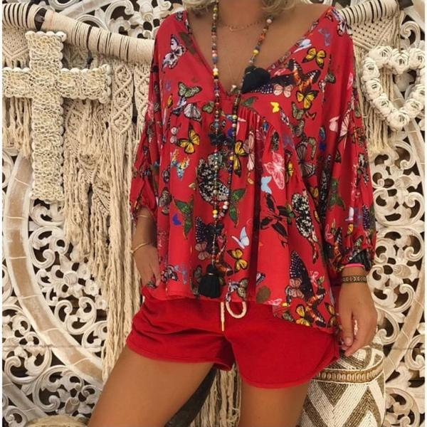 Ladies Thin Butterfly-print Cropped Sleeve Blouses