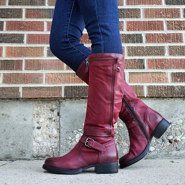 Fashion Round Toe Zipper Knee High Boots