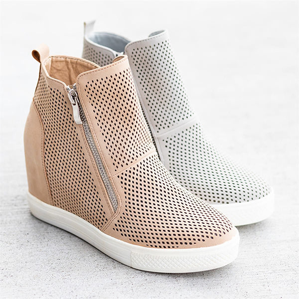 Women Casual Flat Heel Zipper Sneakers