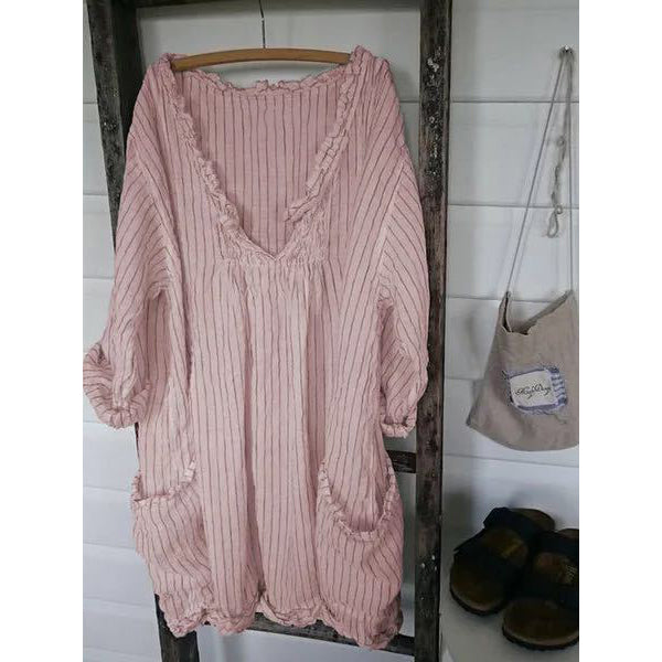 Striped Long Sleeve Pockets Blouse