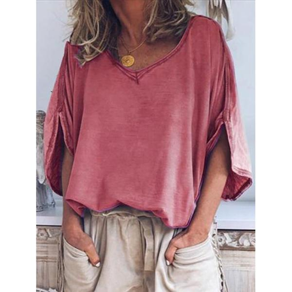 Casual Solid Short Sleeve V Neck T-Shirt