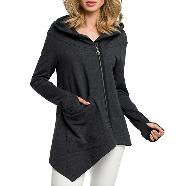 Casual Solid Color Hooded Fall Coats