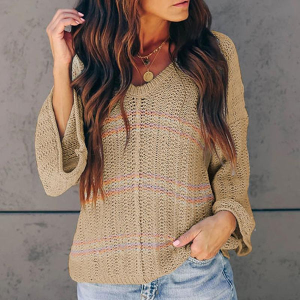 Sexy Print V-neck Long Sleeve Solid Color Sweater