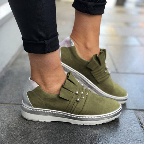 Casual Artificial Pearl Decoration Solid Color Sneakers