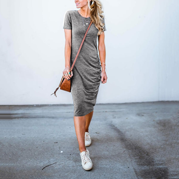 Solid Color Round Neck Slim Dress