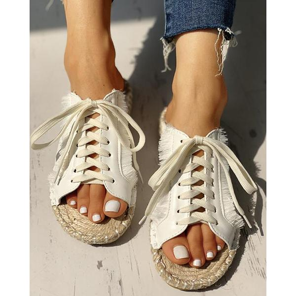 Sequins Lace-Up Casual Flat Sandals