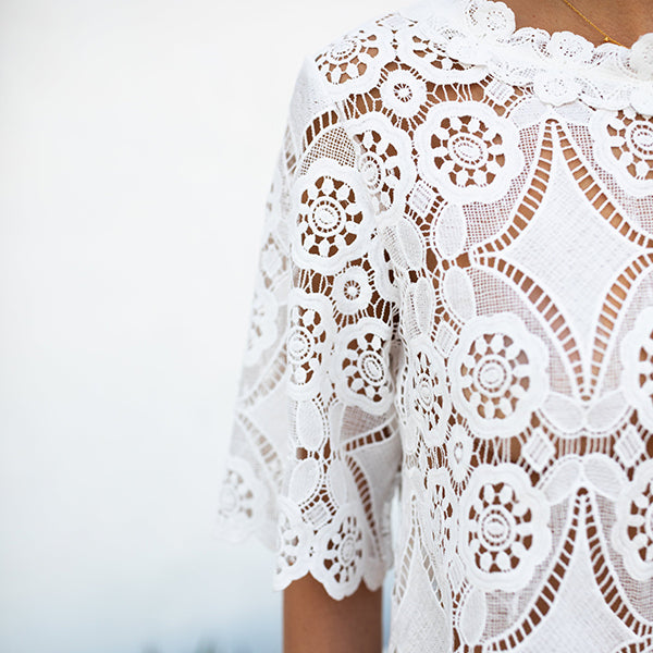 Chic Lace Hollow Short Sleeve Blouse