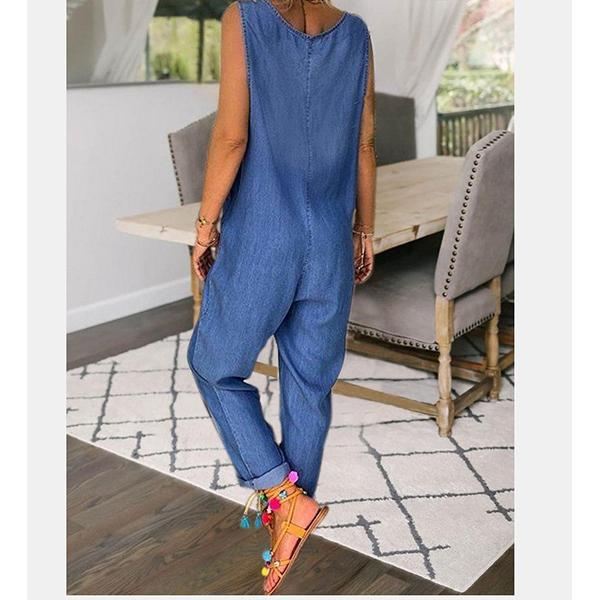 Button Solid Color Casual Jumpsuit
