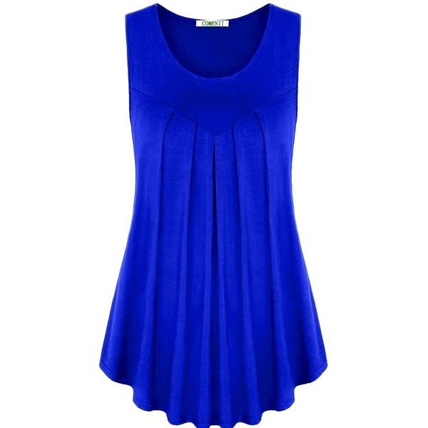 Women Casual Sleeveless Pleated Irregular Hem Vest