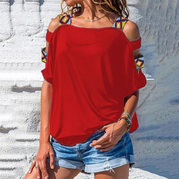 Summer Plus Size Hollow Up Sticting Beach T Shirt