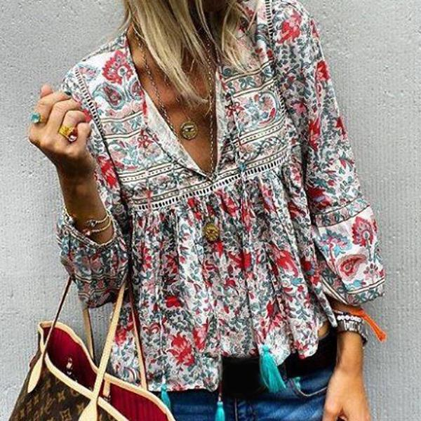 Women Long Sleeve V Neck Blouses