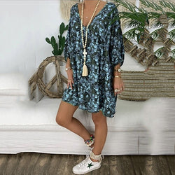 Plus Size Casual Loose Printed V Neck Dress