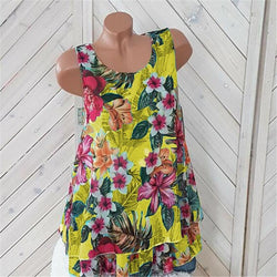 Women Floral Print Layeren Sleeveless Tank