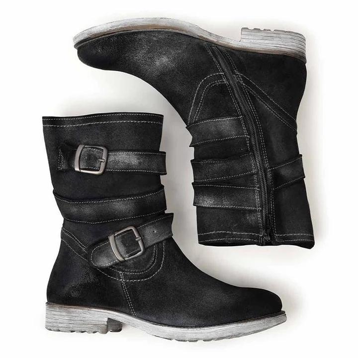 Women's Vintage Mid-Calf Boots Zipper Adjustable Buckle Booties