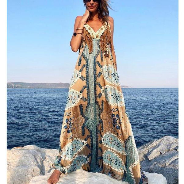 Bohemian Print Casual Vacation Strap Dress
