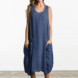 Plus Size Solid Color Pocket Linen Sleeveless Dress