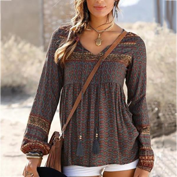 Daily V-Neck Printed Lace-Up Blouse