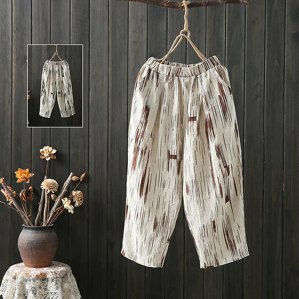 Daily Casual Printed Loose Elastic Pants
