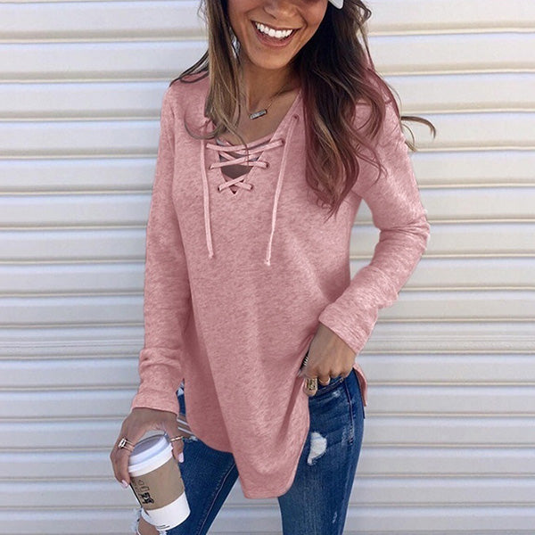 Casual Solid Lace Up V-Neck Blouse