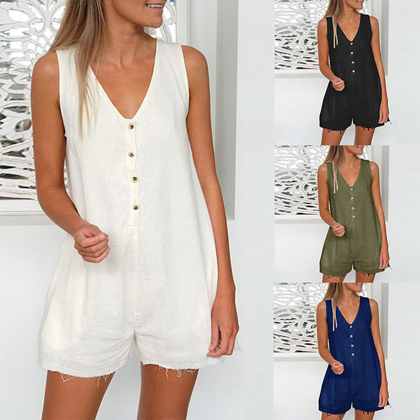 Sleeveless Button Solid Color Jumpsuits