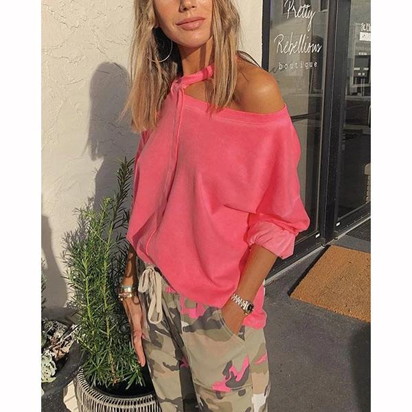 Women Casual Pink Round Neck Cut-out Sweatshirt