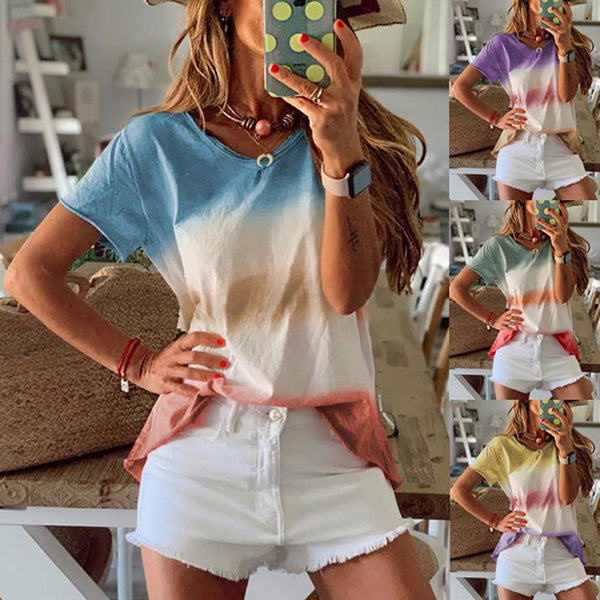 Casual Women Round Neck Multicolor Blouse