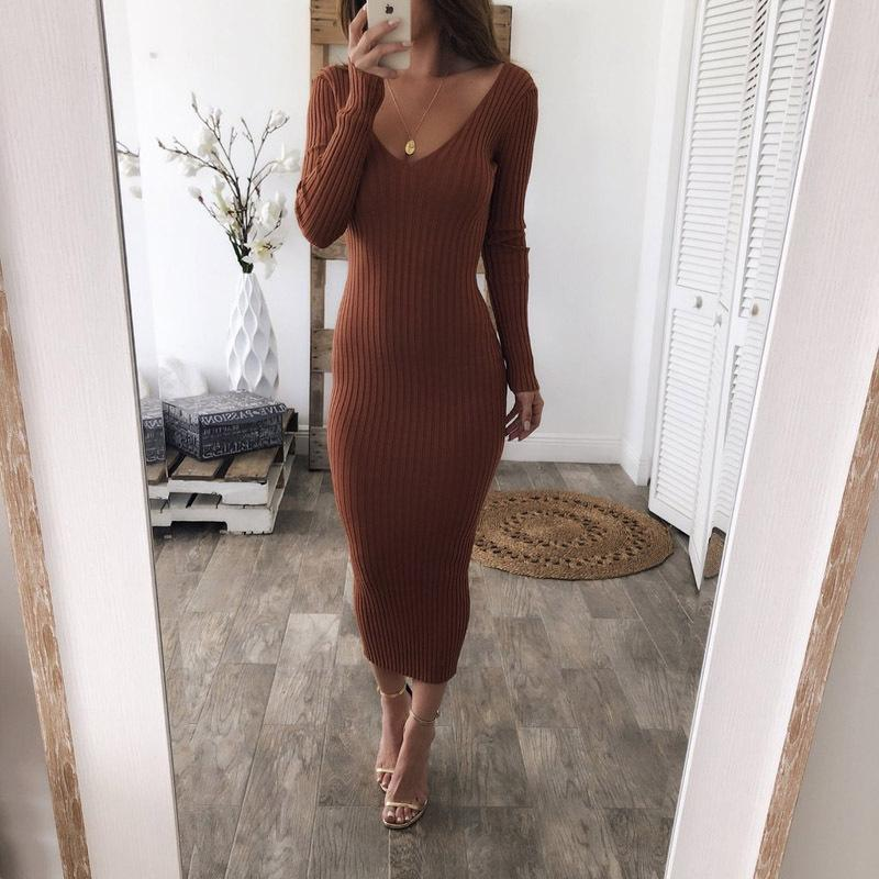Long Sleeve Long Knitted Sweaters Dresses
